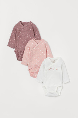 H&M 3-pack Long-sleeved Bodysuits - Pink