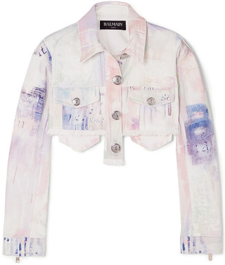 Balmain Cropped Tie-dyed Denim Jacket