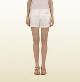Gucci Natural White Linen Canvas Holiday Short