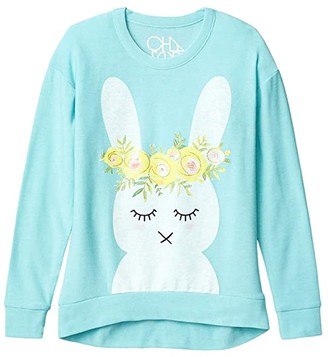 Chaser Funny Bunny Cozy Knit Hi Lo Pullover (Little Kids/Big Kids) (Tiffany) Girl's Clothing