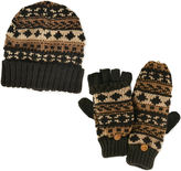Muk Luks 2-pc. Chunky Fair Isle Beanie and Flip Gloves Set