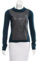 Reed Krakoff Leather-Accented Cashmere Sweater