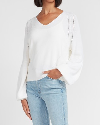 Express Balloon Sleeve V-Neck Sweater