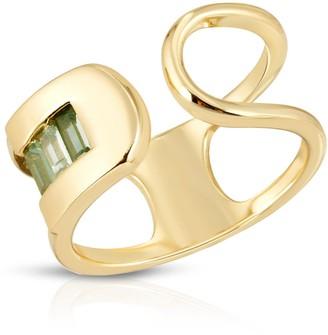 Glamrocks Jewelry Century Safety Pin Ring Green Cz