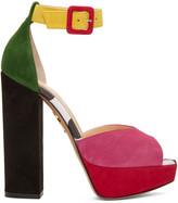 Charlotte Olympia Multicolor Suede Eugenie Platform Sandals
