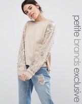 Starry Eyed Petite Sweatshirt With Beaded Shoulder Detail