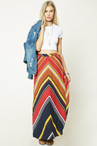 Forever 21 FOREVER 21+ Chevron-Stripe Maxi Skirt