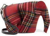 Loewe Elephant Tartan Felt And Leather Shoulder Bag - Red