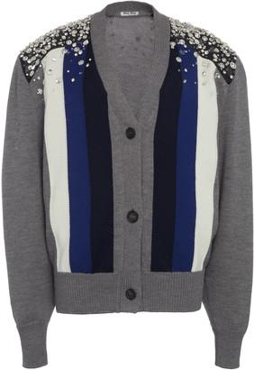 Miu Miu Embellished Striped Wool Cardigan