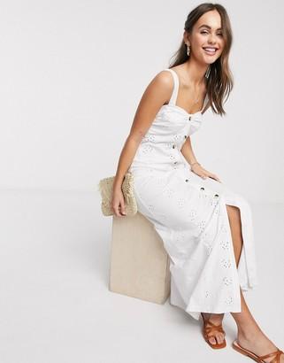 ASOS DESIGN broderie strappy button through maxi dress in white