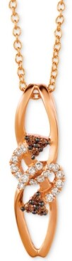 """LeVian Le Vian Chocolatier Diamond Abstract 18"""" Pendant Necklace (1/8 ct. t.w.) in 14k Rose Gold"""