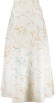 Roland Mouret Brent crepe-paneled embroidered cloqué skirt