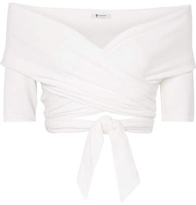 Alexander Wang Off-the-shoulder Wrap-effect Stretch-modal Jersey Top - White
