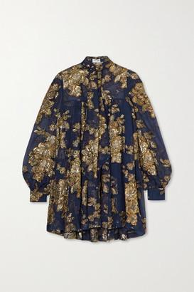 Saint Laurent Embellished Silk-blend Mousseline Mini Dress - Blue