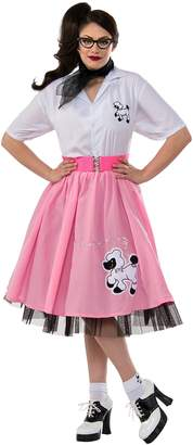 Rubie's Costume Co Women's 1950's Plus Size Pink Poodle Skirt Costume