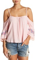 Flying Tomato Embroidered Cold Shoulder Blouse