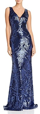 Aqua Scalloped Sequin Gown - 100% Exclusive