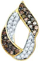 JawaFashion 10kt Yellow Gold Womens Round Cognac- Colored Diamond Cluster Earrings 1.00 Cttw