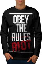 Slogan Stylish Fashion Freedom Riot Men L Long Sleeve T-shirt | Wellcoda
