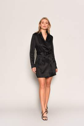 Glamorous Womens **Black Belted Blazer Dress By Black