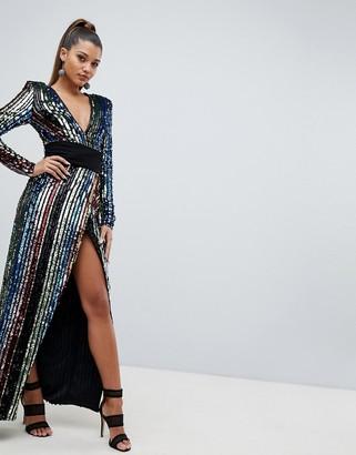Club L rainbow sequin wrap front maxi dress
