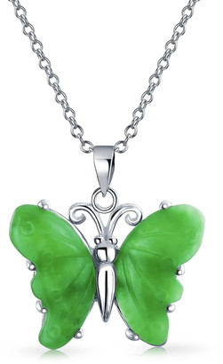 Bling Jewelry Sterling Silver Green Jade Butterfly Pendant Necklace