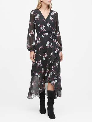 Banana Republic Petite Floral Ruffle Maxi Dress
