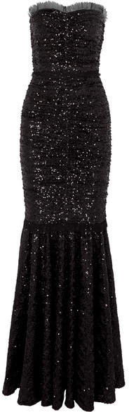 Dolce & Gabbana Sequined Stretch-tulle Gown - Black