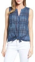 Lucky Brand Women's Tie Front Plaid Top
