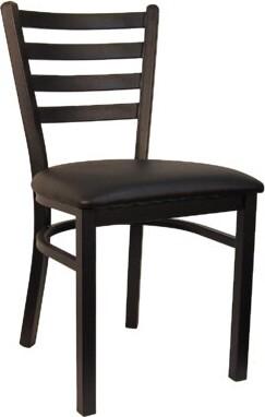 H&D Restaurant Supply, Inc. Ladder Upholstered Dining Chair (Set of 2 Upholstery Color: Black