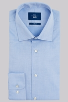 Moss Bros Slim Fit Sky Blue Single Cuff Geo Textured Shirt