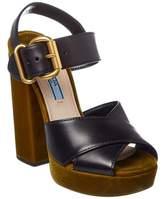 Prada Velvet & Leather 130 Platform Sandal.