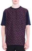 Lanvin Mixed Media Printed Short-Sleeve T-Shirt, Blue