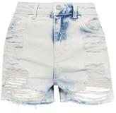Topshop MOTO Bleach Ripped Mom Shorts
