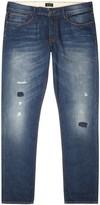 Armani Jeans J06 Blue Distressed Slim-leg Jeans