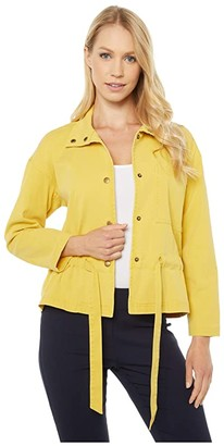 Elliott Lauren Pigment Dye Tie Detail Jacket with Snap Closure (Yellow) Women's Clothing