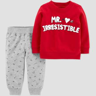 Carter's Just One You Made By Baby Boys' 2pc 'Mr. Irresistible' Bodysuit Set - Just One You® made by Red/Gray