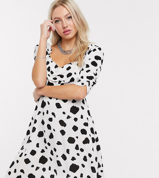 Reclaimed Vintage inspired tea dress with ruching front in dalmatian polka dot-Multi