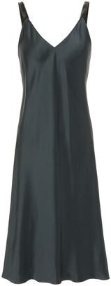 Helmut Lang Velvet-trimmed Satin Slip Dress