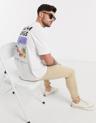 Topman t-shirt with palm springs back print in white