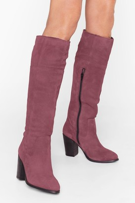 Nasty Gal Womens We Finally Suede It Knee-High Heeled Boots - red - 3