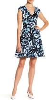 Vince Camuto Print Scuba Fit & Flare Dress