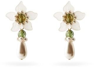 Shrimps Mara Flower And Faux-pearl Drop Earrings - Green Multi