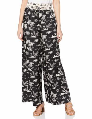 Scotch & Soda Women's Wide Leg Pants with Contrast Waistband Trouser