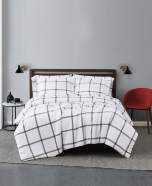 Truly Soft Printed Windowpane 3 Piece Duvet Cover Set, King Bedding