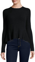 Marled by Reunited Cashmere Crewneck High-Low Sweater, Black