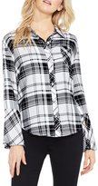 Vince Camuto Bell Sleeve Bedford Plaid Button Front Shirt