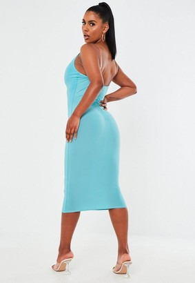 Missguided Blue Cowl Neck Clear Strap Midaxi Dress