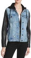 Blank NYC BLANKNYC Faux Leather Sleeve Denim Jacket - 100% Bloomingdale's Exclusive