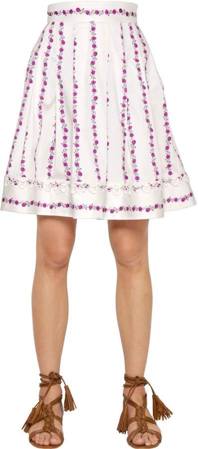 Blugirl Floral Printed Stretch Cotton Skirt